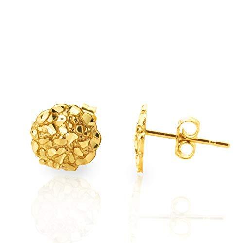(LoveBling 10k Yellow Gold Round Nugget Stud Earrings (.40