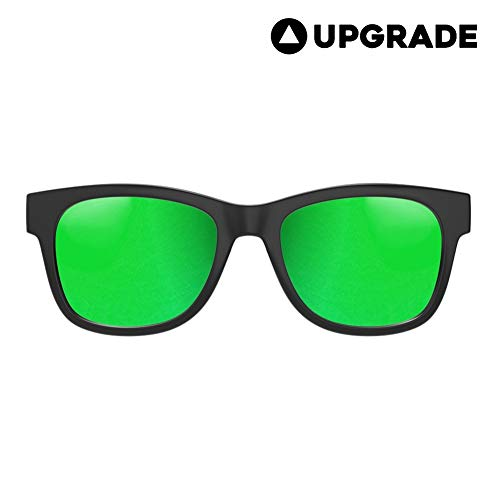 VocalSkull Alien 5 Bone Conduction Glasses Polarized Sunglasses Headphones Headset Music Stereo Hearing Aid for Sports Running Cycling Hiking IOS Android Matted Black Frame (Green)