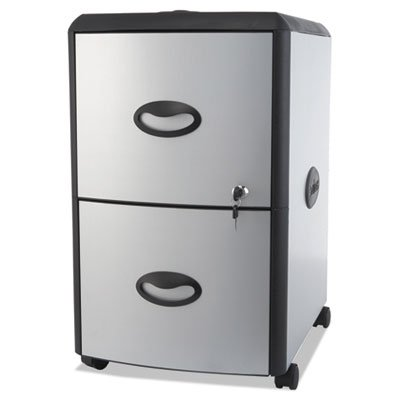 Two-Drawer Mobile Filing Cabinet, Metal Siding, 19w x 15d x 23h, Silver/Black, Sold as 1 Each by Storex