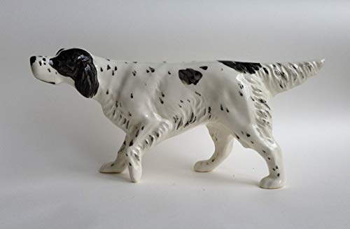 English setter (black speck.) faience figurine, handmade, porcelain dog figurine