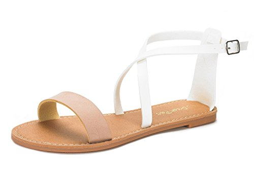 DREAM+PAIRS+CROX+New+Women+Open+Toe+Fashion+Crisscross+Valcre+Ankle+Straps+Summer+Design+Flat+Sandals+NUDE+WHITE+SIZE+9