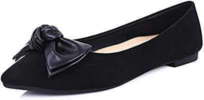 sorliva Women's Bowknot Pointed Toe Ballet Flats Comfortable Slip On Casual Dress Shoes