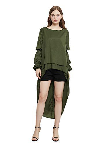 Anna-Kaci Women's Casual Lantern Sleeve Round Neck Irregular High Low Hem Shirt Dress Army Green