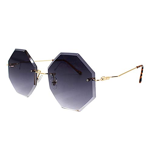 Danse Jupe Women Hipster Polygon Gradient Square Rimless Metal Frame Sunglasses,Grey