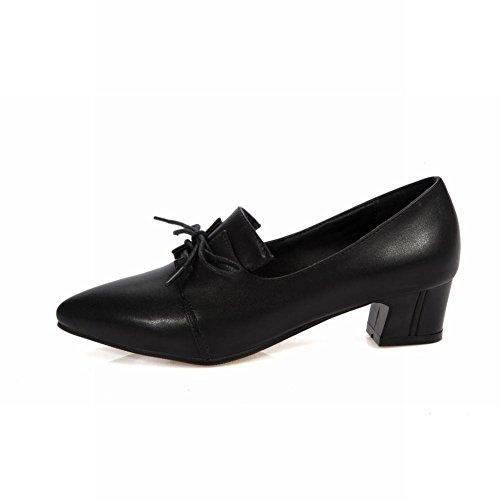 Show Shine Damesmode Dikke Hak Puntschoen Oxfords Schoenen Zwart