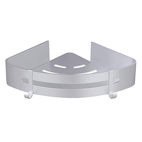 Gricol Bathroom Shelf Triangle Shower Caddy Space Aluminum Self Adhesive No Damage Wall Mount, Silver