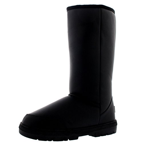 Mujer Original Tall Classic Fur Lined Impermeable Invierno Rain Nieve Botas Negro Cuero