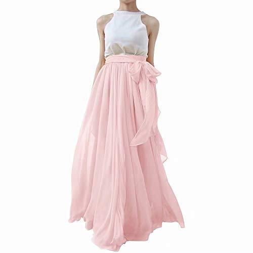 (Lanierwedding Summer Beach Chiffon Long High Waist Maxi Skirt with Belt for Wedding 2017 Pink Size M)