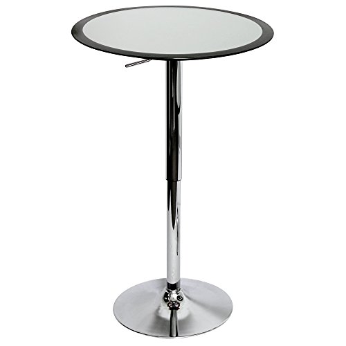 LumiSource BT-TW BK Ribbon Bar Contemporary Table, Silver/Black