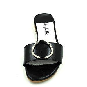 Zapatillas ranurada _ retro gran terraza y una base plana y elegante zapatillas planas playa femenina baja con elegante, negro (Black Insoles) 38