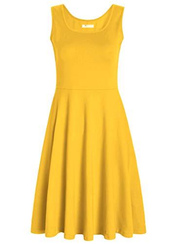 PintageWomen's Square Neck Sleeveless A Line Tank Dress M Yellow