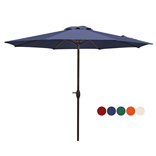 HASLE OUTFITTERS Patio Umbrella 9FT Table Umbrella Outdoor Market Umbrella with Tilt Adjustment and Crank Lift System Navy
