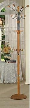 H-M SHOP Six Foot Wood Chrome Coat Rack Oak Finish