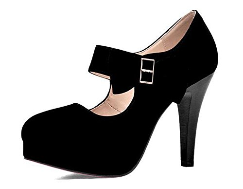 Easemax Womens Fashion Round Toe Platform High Heel Stiletto Dress Pump Black I8KLEe