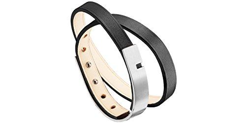Ursul Bracelet homme U-Turn Twice, cuir de vachette, acier brossé, noir, M