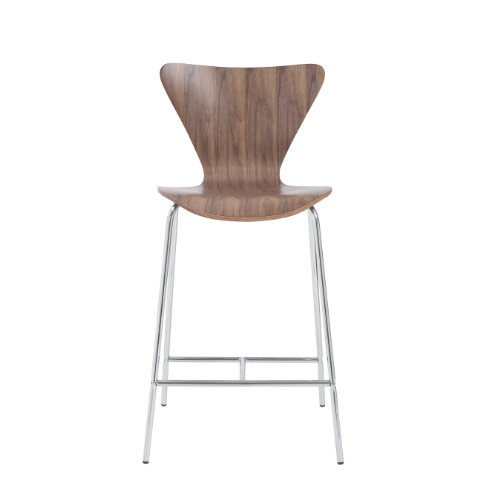 (Euro Style Tendy Wood Counter Height Side Dining Chair with Chromed Steel Base, Set of 2, Walnut)