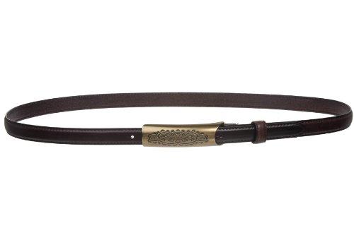 Womens Embossed Rectangular Skinny Stitch Leather Belt Size: L - 38