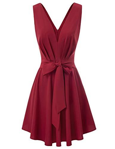 GRACE KARIN Women's Casual Sleeveless V Neck Summer Beach Dress Size M,Wine Red