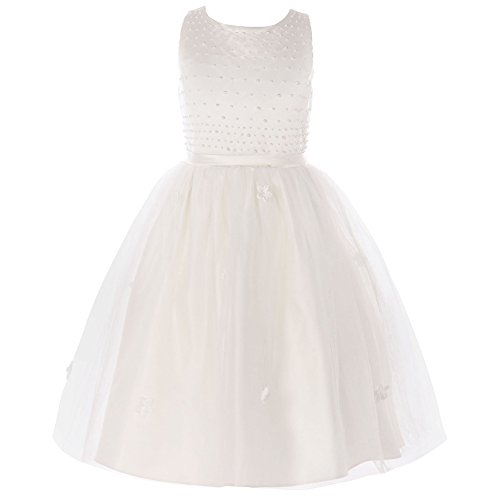 Pearls Flower Girl Communion Dress (FAYBOX Classy Wedding Flower Girl White Dresses First Holy Communion Pearls Ivory)
