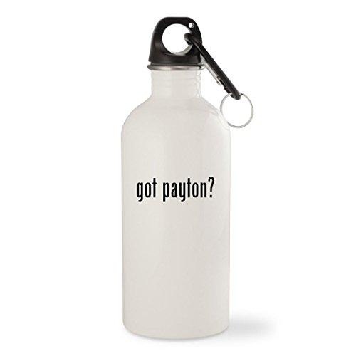 34 Walter Payton Jersey (got payton? - White 20oz Stainless Steel Water Bottle with Carabiner)