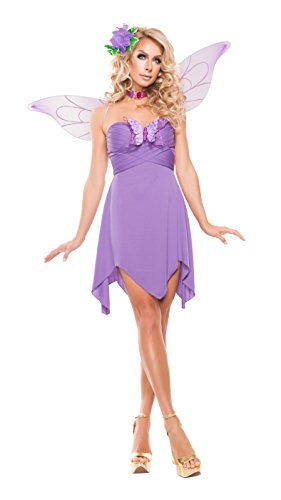 Womens Lilac Fairy Costumes (Starline Women's Elegant Lilac Fairy 3 Piece Costume Set with Wings, Lilac, Large)