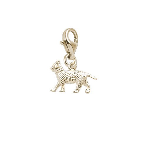 - Rembrandt Charms Cat Charm with Lobster Clasp, Gold Plated Silver