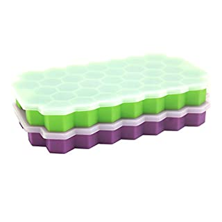 Ice Cube Trays, 2 Pack Silicone Ice Cube Molds with Removable Lid, Totally 74-Ice Trays for Whiskey, Cocktail, Stackable Flexible Green+Purple