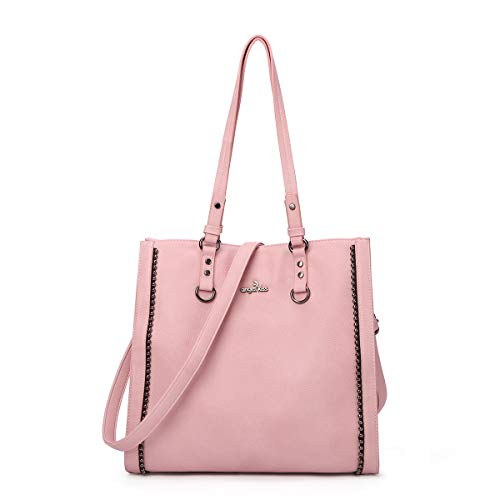 (Angelkiss Women's Soft PU Leather Classic Tote Bag Top Handle Shoulder Handbags and Purses with Zipper (Pink 2))