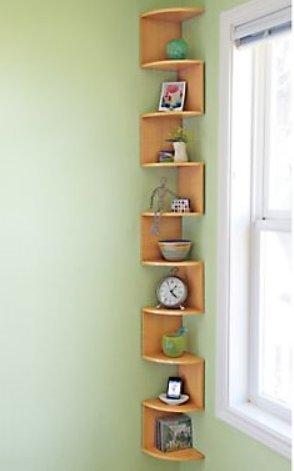 Corner Wall Shelves Stackable 5 Tier Oak Zig Zag Natural