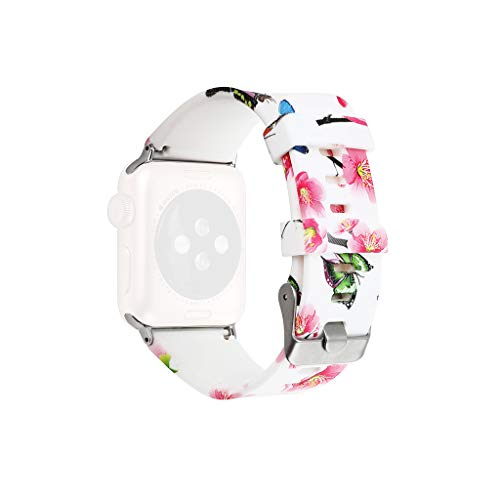 Sodoop Compatible for Apple Watch Band 38mm 40mm,Silicone Waterproof Fadeless Pattern Printed Floral Replacement Wrist Strap Bands for iWatch Series 4/3/2/1,Women/Men