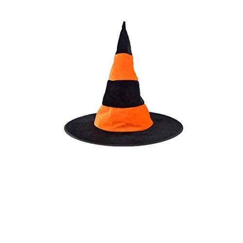 Yezijin Adult Womens Black Witch Hat Halloween Costume Accessory Cap (Orange) -