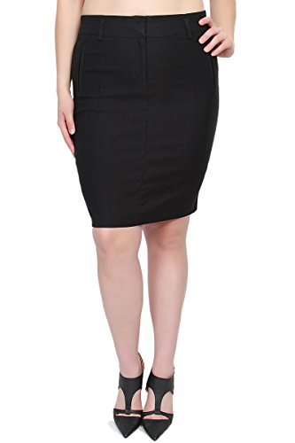 TheMogan Women's Dressed Up High Waisted Midi Pencil Skirt Black 3XL