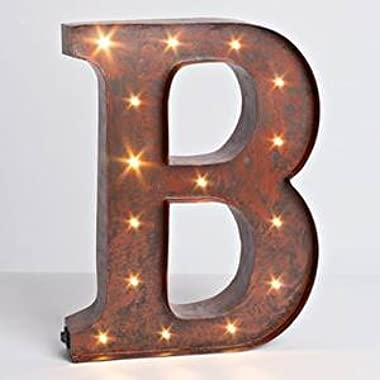 The Gerson Company  B  LED Lighted Metal Letter with Rustic Brown Finish