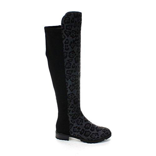 Forever Kvinners Femti-50-3 Fashion To Tone Over Kneet Høy Leopard Print Riding Boot