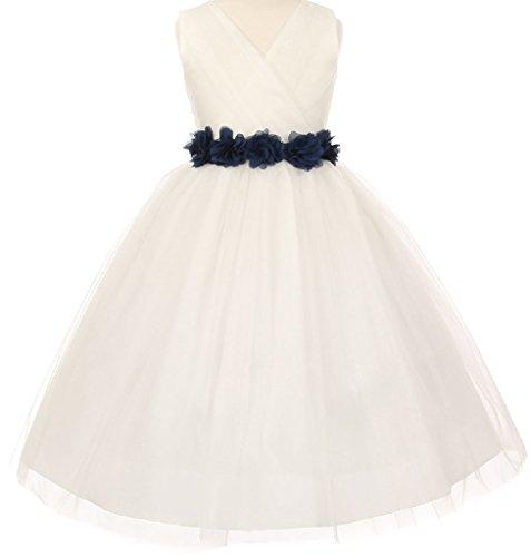 Big Girls' Ivory Tulle V Neck Floral Sash Flowers Girls Dresses Navy Size 10 ()
