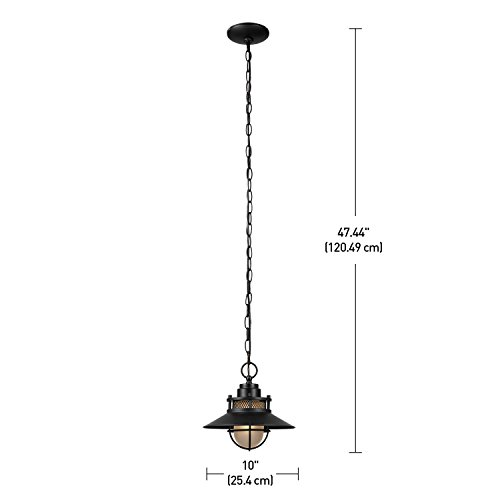 Globe Electric Liam Outdoor Pendant, Matte Black by Globe Electric (Image #4)