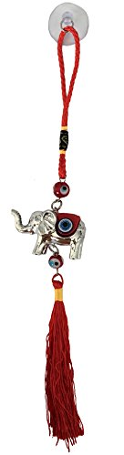 Bravo Team Lucky Evil Eye Wall Hanging Ornament for Protection and Blessing, Elephant Charm for Strength and Power, Pendant Decoration for Car, Home and Office, Great Gift (Red)
