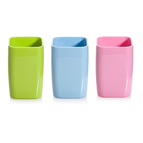 Hineway 3 X Plastic Bathroom Rinsing Mug Tumbler Water Cup Toothbrush Holder (3 Pieces, Mixed Color)