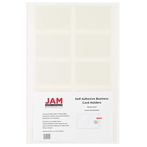 JAM PAPER Self-Adhesive Business Card Holders - 2 x 3 1/2 - Clear - 30 Label Pockets/Pack