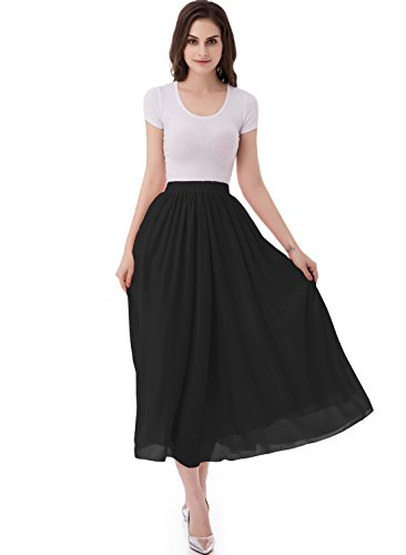 (emondora Women's Chiffon Long A-line Retro Skirts Pleated Beach Maxi Skirt Black Size L)