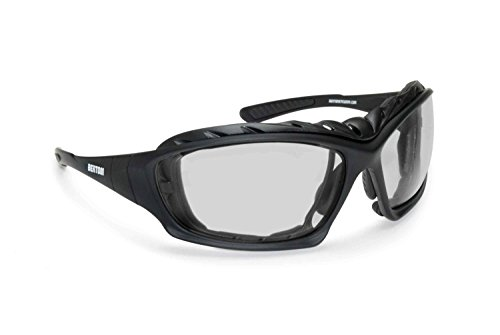 Bertoni Motorcycle Goggles Padded Glasses Interchangeable Arms and Strap - Antifog Lens - Optical Prescription Carrier Included - AF366A by Bertoni Italy Black Riding Goggles ()