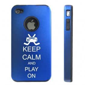Apple iPhone 4 4S 4 Blue D2642 Aluminum & Silicone Case Cover Keep Calm and Play On Hockey
