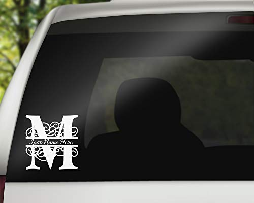 Swirl Letter M Monogram Vinyl Decal with Name Personalization | Monogrammed Decal | Pipeline - 6 ()