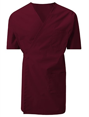 7 Encounter Unisex Multifunctional Short Sleeves Wrap Smock Chest Side Pockets Burgundy Size L/XL