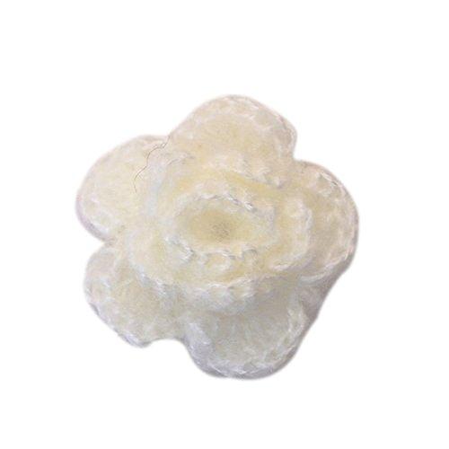UEETEK 10ST 3-Lagigem Handarbeit Häkeln Blume Aufnäher Nähen Craft (Weiß)