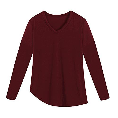 T Femmes Ourlet Manches Tefamore Rouge Shirt et Manches Longues irrgulier Longues pour vqfd0