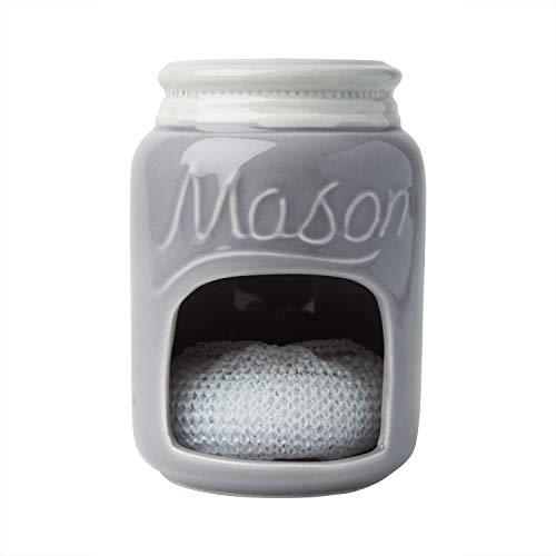 (Ceramic Kitchen Sponge Holder Sink Caddy - Kitchen Décor And Accessories Farmhouse Style - Country Kitchen Sink Décor Rustic- Mason Jar Décor Sponge Holder - Scrubby Holder- Grey)