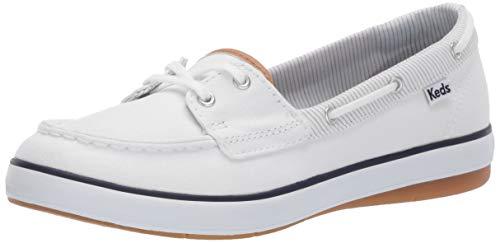 (Keds Women's Charter Chalk Stripe Sneaker, White, 6 )