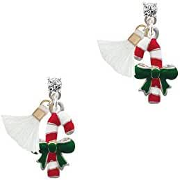 Candy Cane with Green Bow Tassel Crystal Posts Earrings