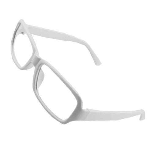 Women White Plastic Arms Full Rim Rectangular Eyeglasses - Eyeglasses Frames White